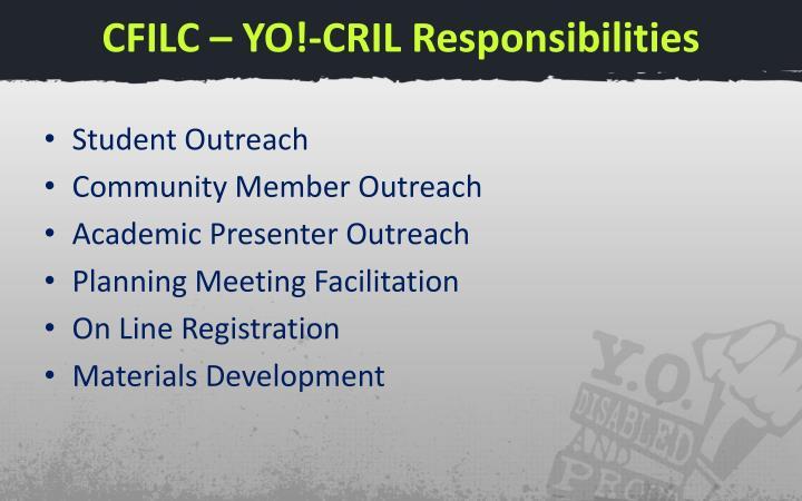 CFILC – YO!-CRIL Responsibilities
