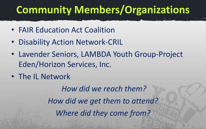 Community Members/Organizations