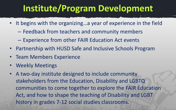 Institute/Program Development