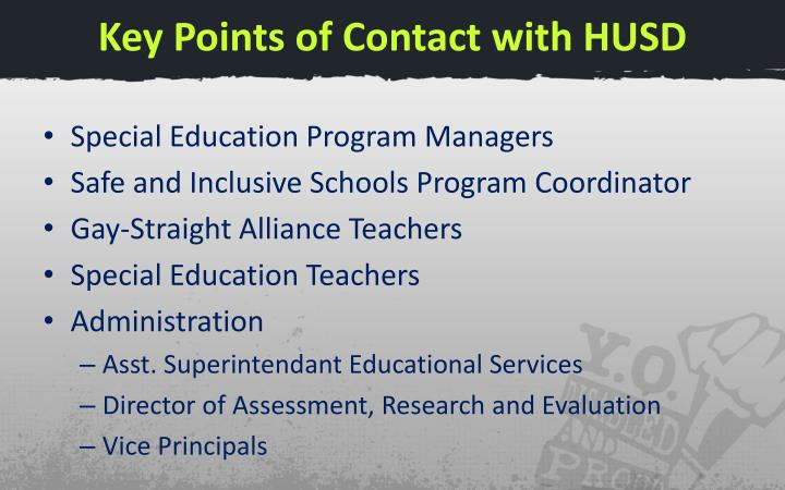 Key Points of Contact with HUSD