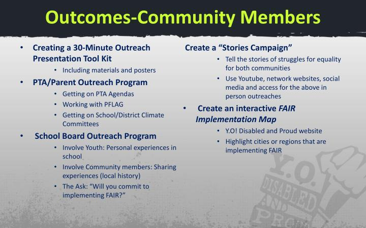 Outcomes-Community Members