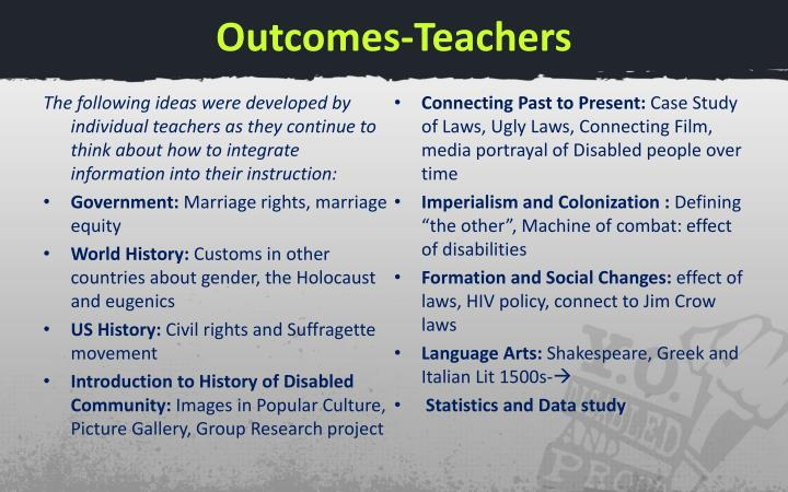 Outcomes-Teachers