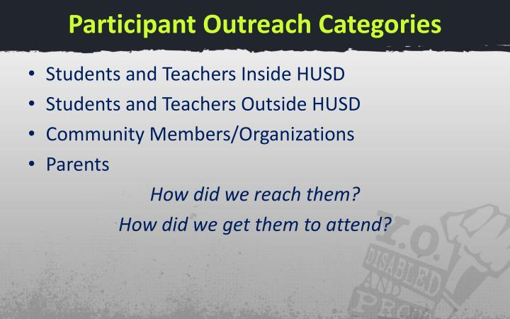 Participant Outreach Categories