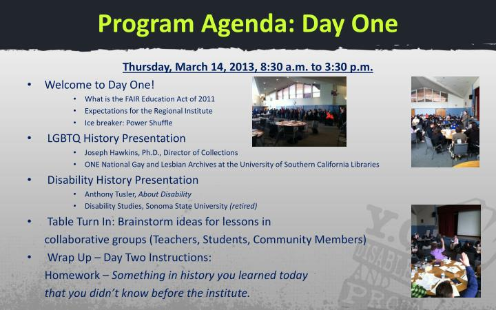 Program Agenda: Day One