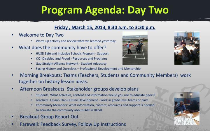 Program Agenda: Day Two