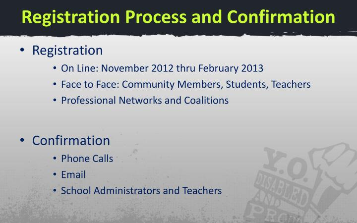 Registration Process and Confirmation