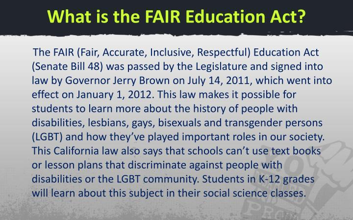 What is the FAIR Education Act?