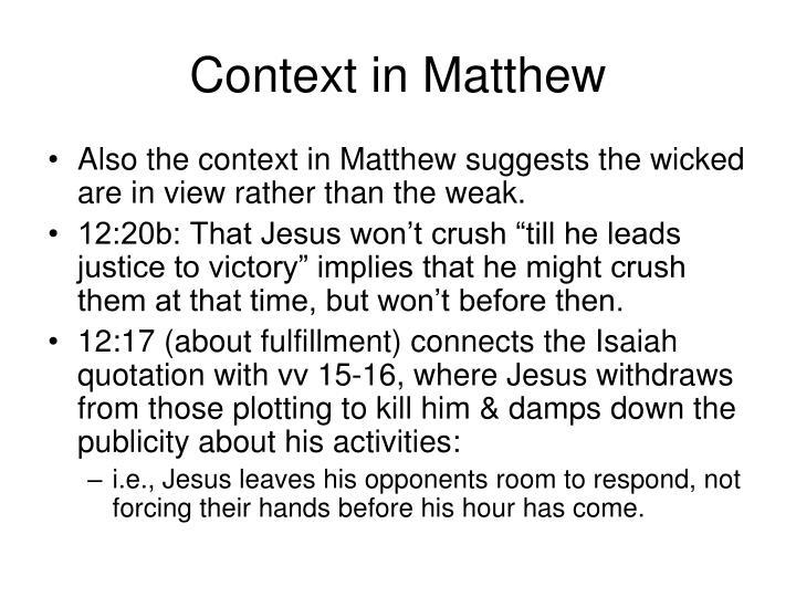 Context in Matthew