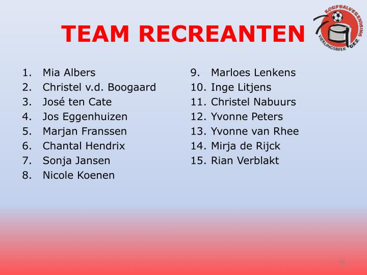 TEAM RECREANTEN