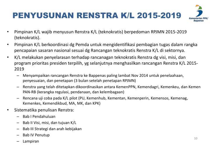 PENYUSUNAN RENSTRA K/L 2015-2019