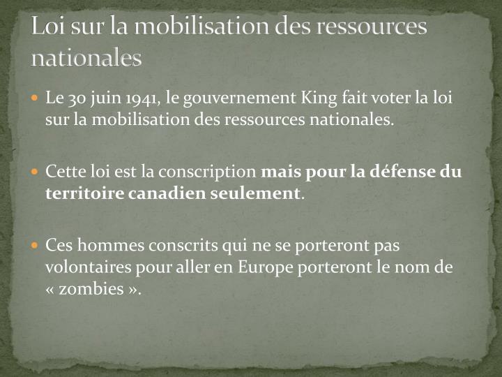 Loi sur la mobilisation des ressources nationales