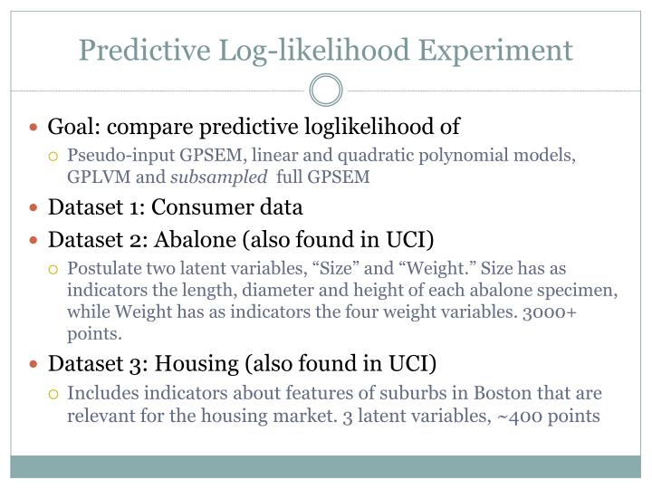 Predictive Log-likelihood Experiment