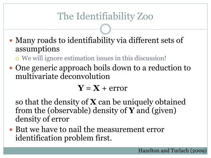 The Identifiability Zoo