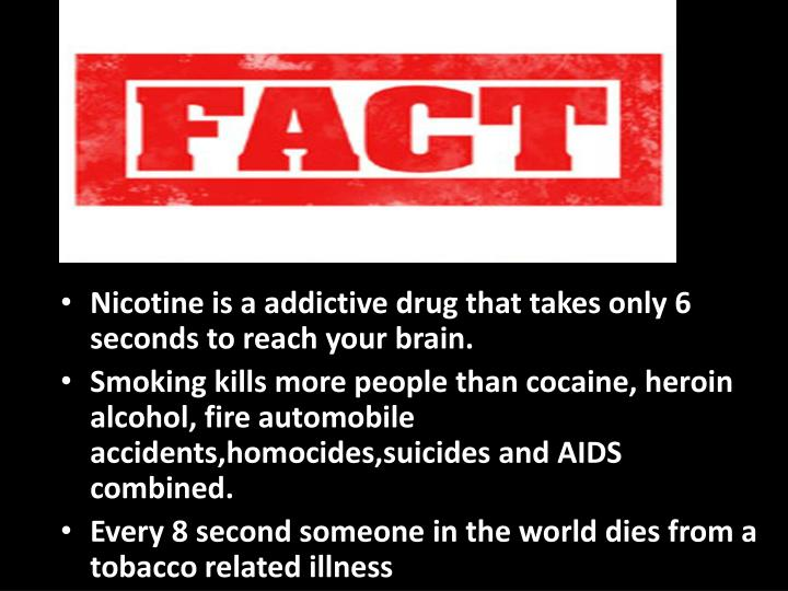 Nicotine is a addictive drug that takes only 6 seconds to reach your brain.