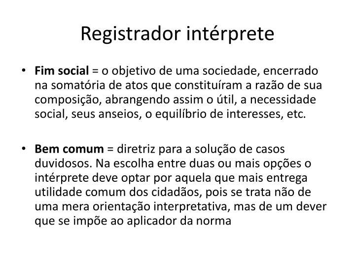 Registrador intérprete