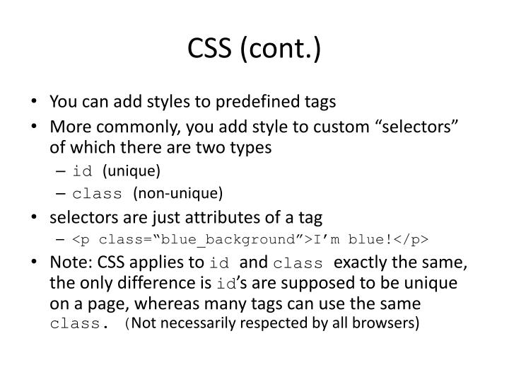 CSS (cont.)