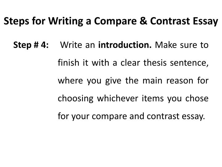 thesis example for compare and contrast essay comparison contrast  step up to writing compare contrast essay acirc block method of essay show  a model compare