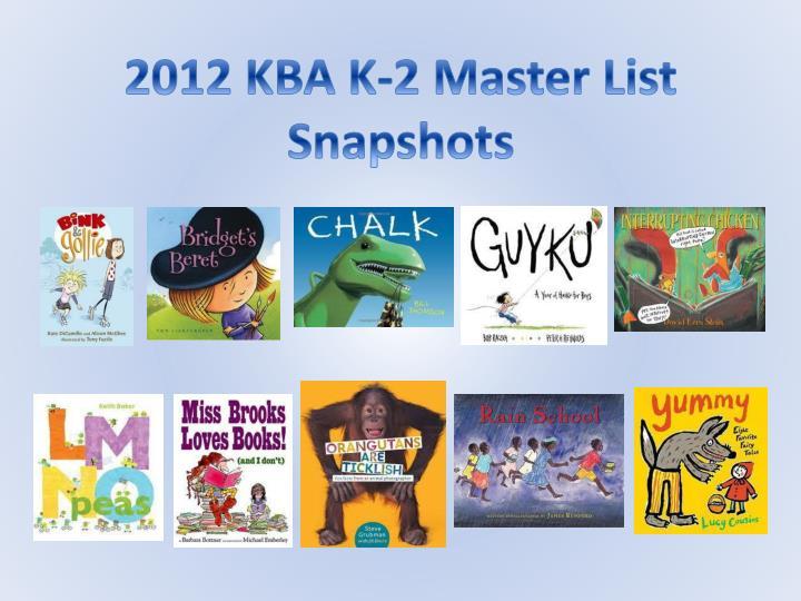 2012 KBA K-2 Master List