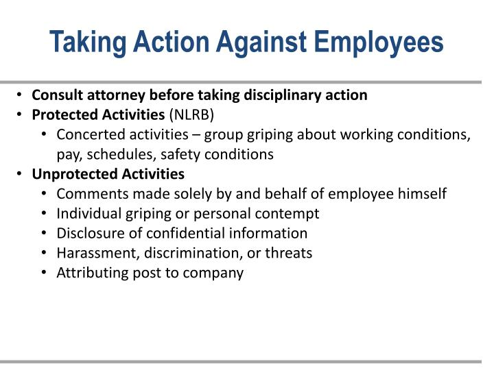 Taking Action Against Employees