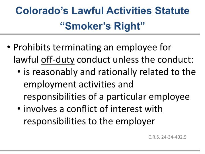 Colorado's Lawful Activities Statute