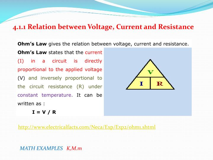 4.1.1 Relation between Voltage, Current and Resistance