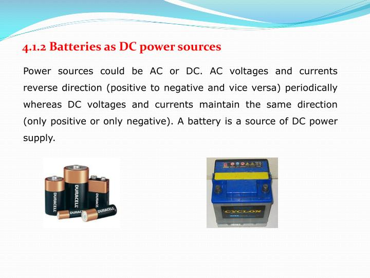 4.1.2 Batteries as DC power sources