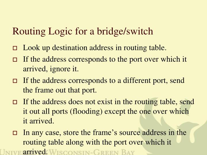 Routing Logic for a bridge/switch