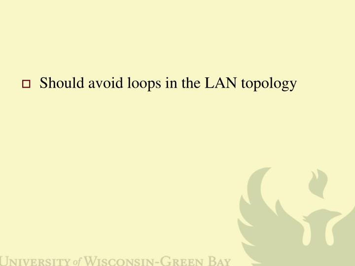 Should avoid loops in the LAN topology