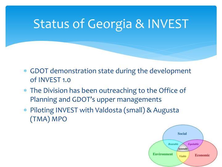 Status of Georgia & INVEST
