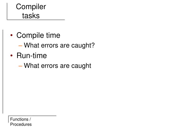 Compiler tasks