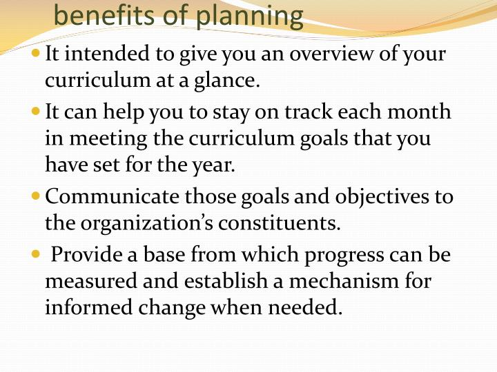 benefits of planning