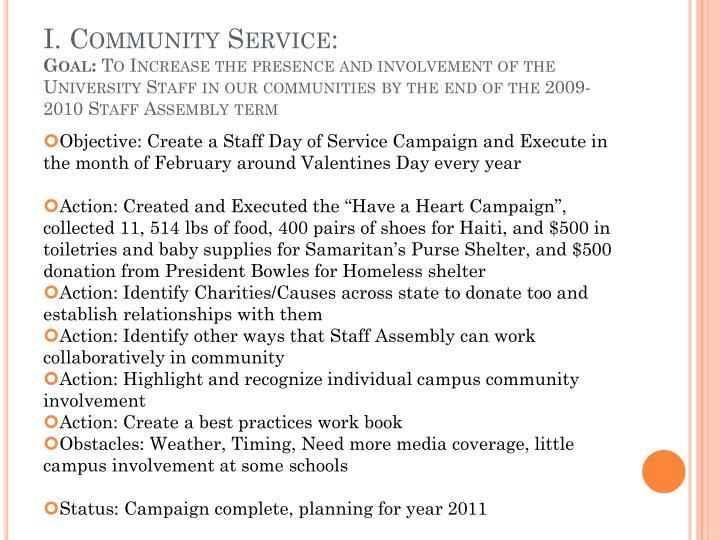 I. Community Service: