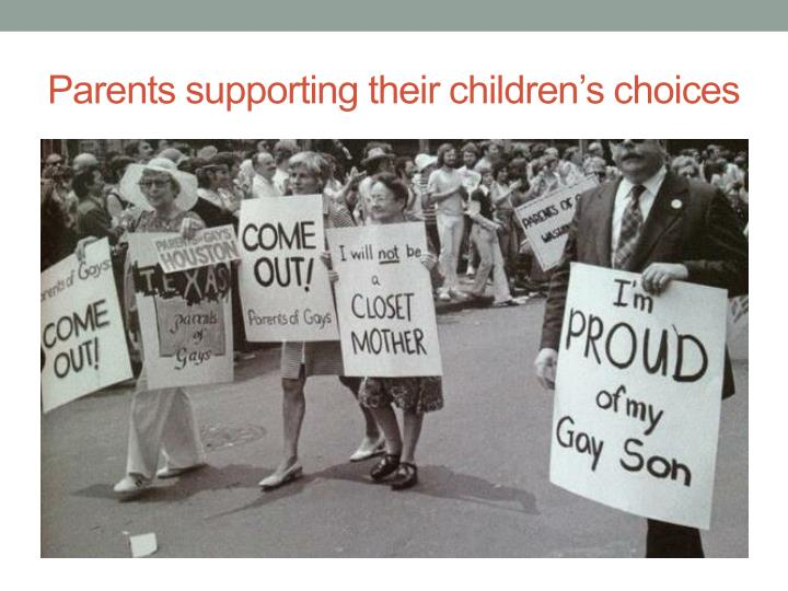 Parents supporting their children's choices