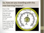 so how are you travelling with this new learning inquiry
