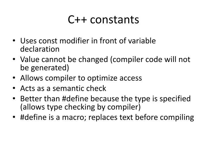 C++ constants