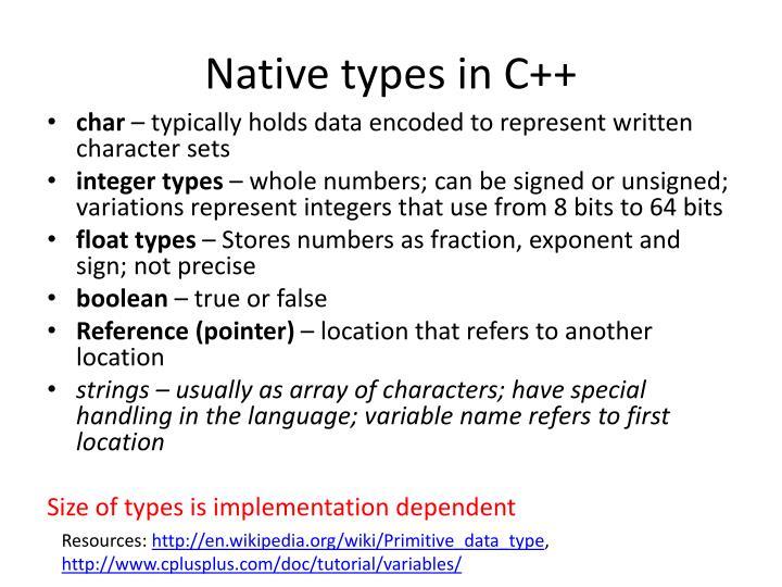 Native types in C++