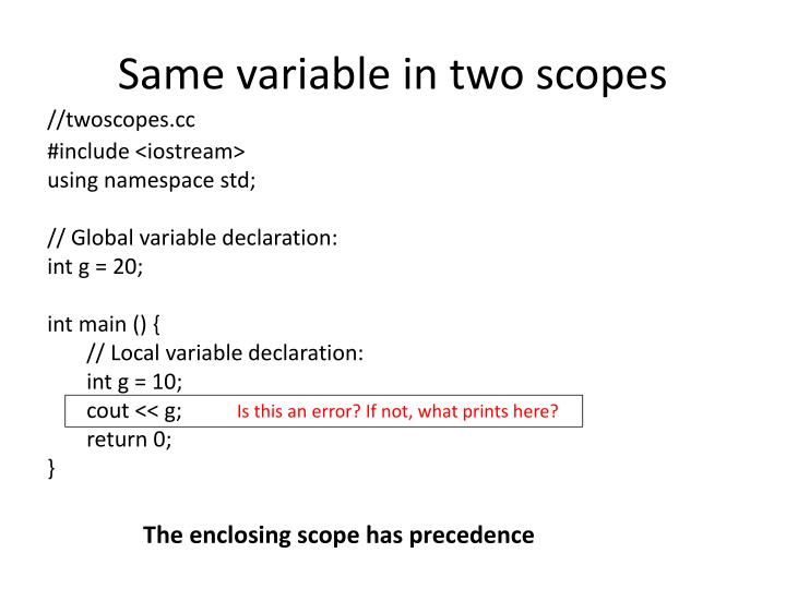 Same variable in two scopes