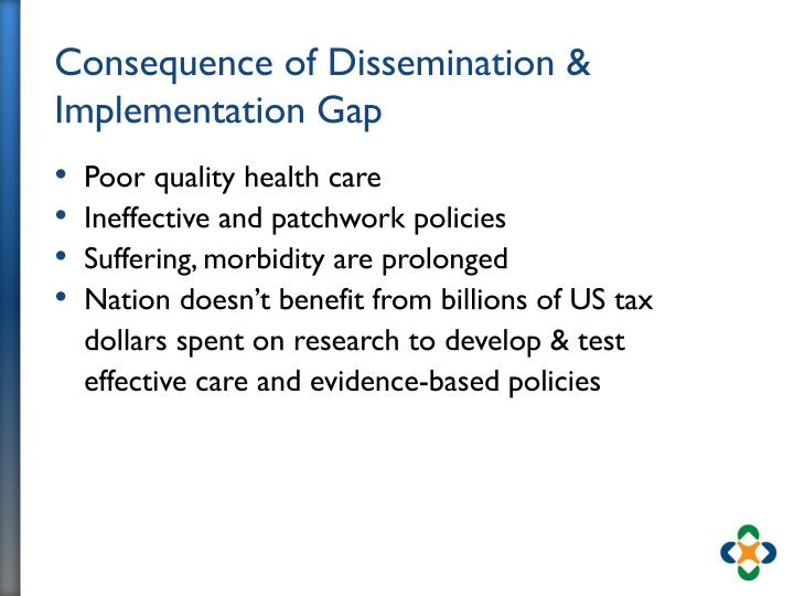 Consequence of Dissemination & Implementation Gap