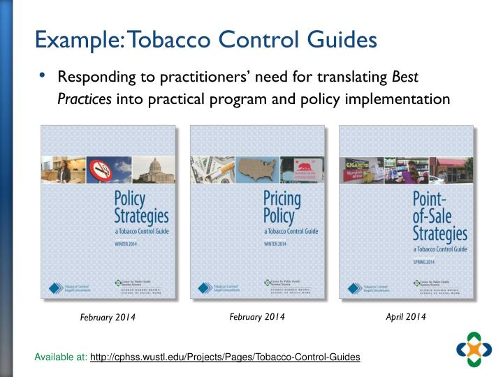 Example: Tobacco Control Guides