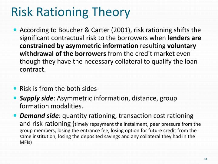 Risk Rationing Theory