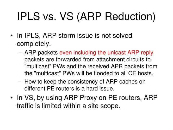 IPLS vs. VS (ARP Reduction)