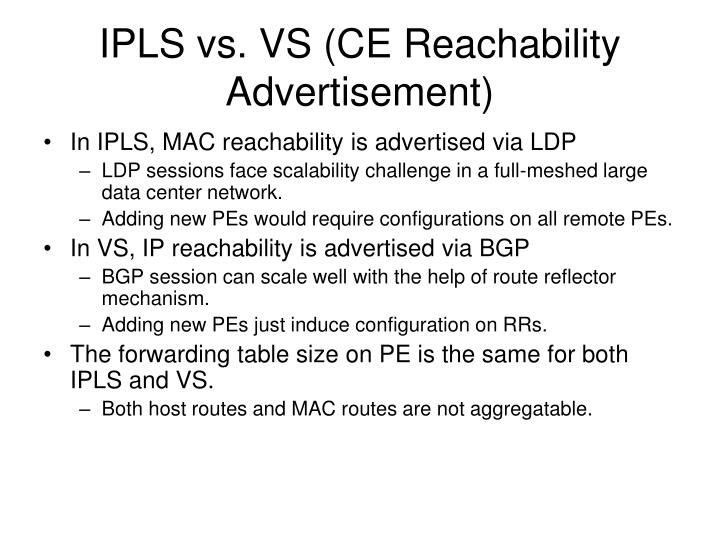 IPLS vs. VS (CE Reachability Advertisement)
