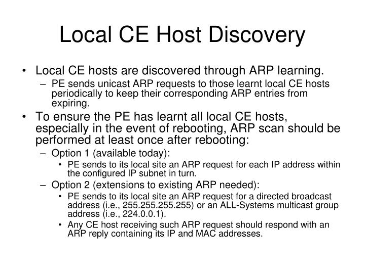Local CE Host Discovery