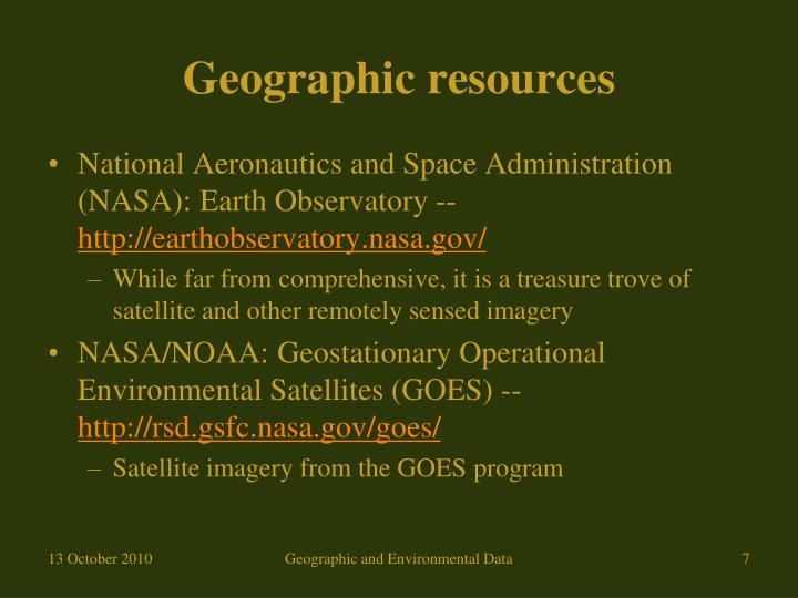 Geographic resources