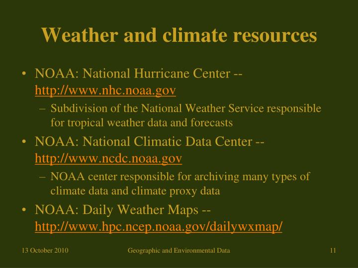 Weather and climate resources