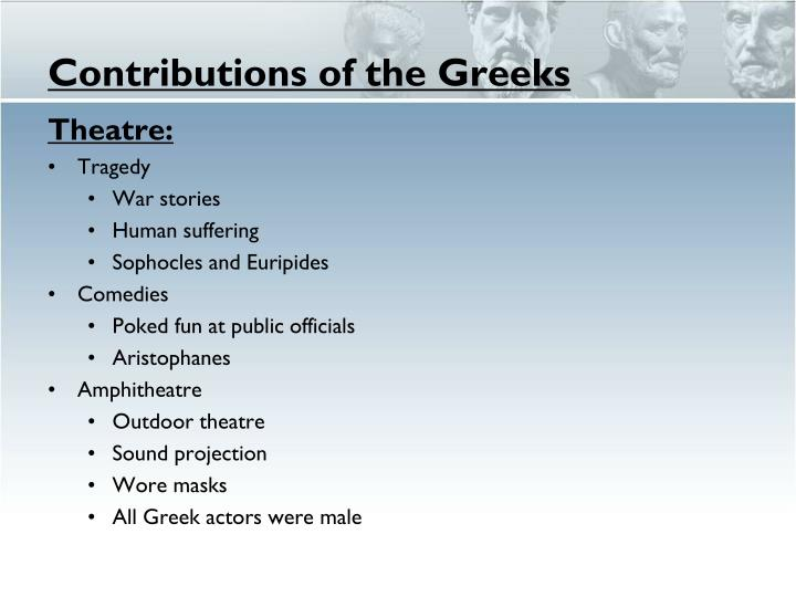 Contributions of the Greeks