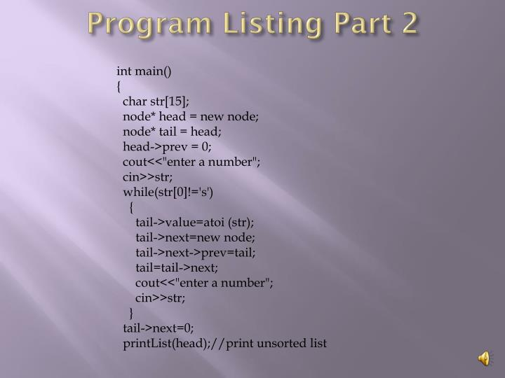 Program Listing Part 2