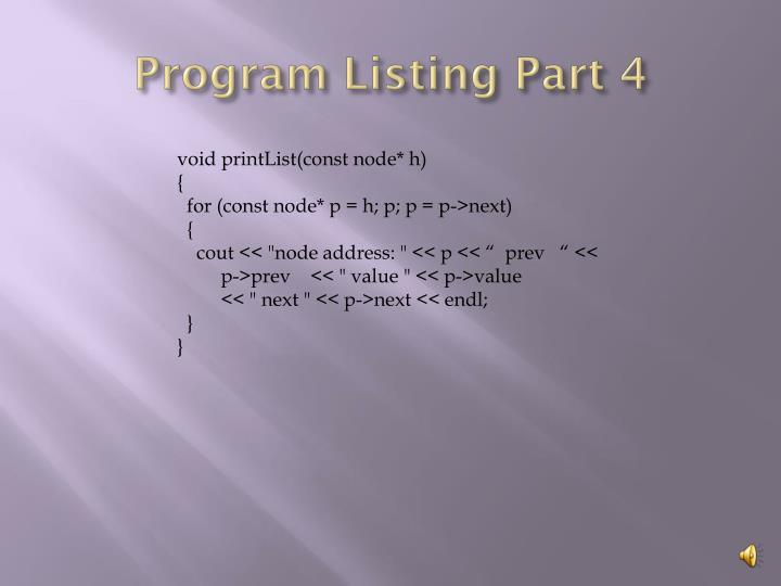 Program Listing Part 4