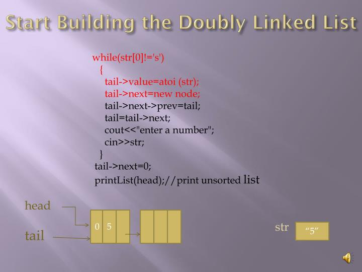 Start Building the Doubly Linked List