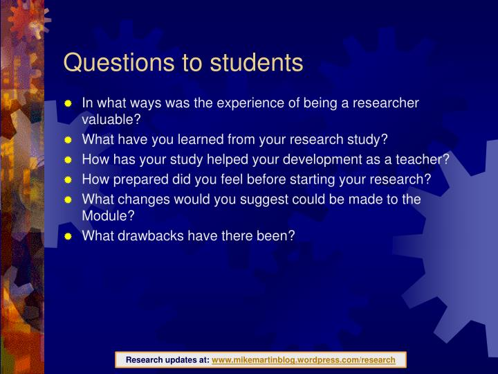 Questions to students